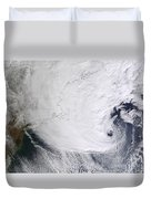 A Winter Storm Over Eastern New England Duvet Cover by Stocktrek Images