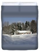 A Wintery Look Up A Driveway On Conifer Drive Duvet Cover