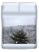 A Wintery View At The United States Military Academy At West Poi Duvet Cover