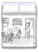 A Woman Addresses Her Husband In His Home Office Duvet Cover by Tom Toro