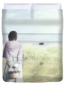A Woman And The Sea Duvet Cover by Joana Kruse