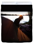 A Woman Exits The Tent At Sunset Duvet Cover