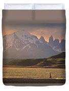 A Woman Explorer, Runs The Shores Duvet Cover