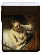 A Woman In Bed Duvet Cover