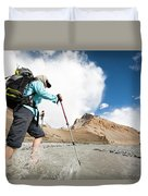A Woman Is Crossing A River, Spiti Duvet Cover