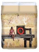A Woman Is Sitting By A Lake, Mount Duvet Cover
