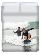 A Woman Learns To Surf Duvet Cover