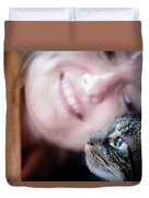A Woman Lovingly Looking At Her Cat Duvet Cover