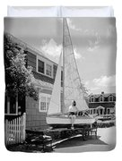 A Woman On Sailboat At Home Duvet Cover
