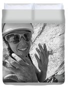A Woman Rock Climber In Titcomb Basin Duvet Cover