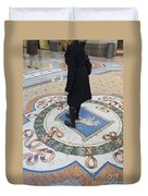 A Woman Rubs Her Heel For Good Luck On The Crest Of The Bull In Galleria Vittorio Emanuele II  Duvet Cover