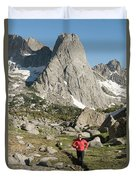 A Woman Trail Running In The Cirque Duvet Cover