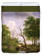A Wooded River Landscape With Sportsmen In A Rowing Boat Duvet Cover