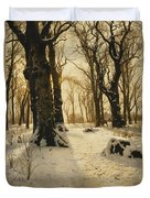 A Wooded Winter Landscape With Deer Duvet Cover