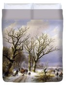 A Wooded Winter Landscape With Figures Duvet Cover