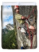 A Young Boy And Climbers In Yosemite Duvet Cover