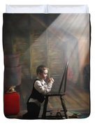 A Young Boy Praying With A Light Beam Duvet Cover