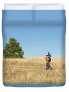 A Young Boy Rides On His Dads Shoulders Duvet Cover