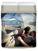 A Young Couple Camping Talk Duvet Cover