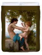 A Young Girl Defending Herself Against Eros  Duvet Cover
