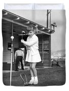 A Young Girl Hits A Golf Ball Duvet Cover