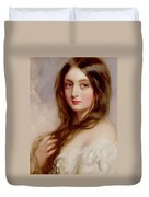 A Young Girl In A White Dress Duvet Cover by Richard Buckner