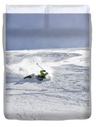 A Young Man Falls While Skiing Duvet Cover