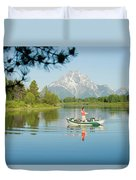 A Young Man Fly Fishes From His Drift Duvet Cover