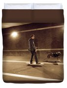 A Young Man On A Skateboard Is Pulled Duvet Cover