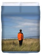 A Young Man Stands In A Field Duvet Cover
