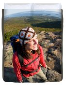 A Young Woman Hiking On Cadillac Duvet Cover