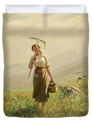 A Young Woman In The Meadow Duvet Cover