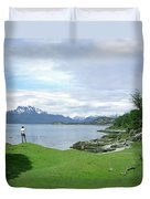 A Young Woman Looks Out Over The Sea Duvet Cover