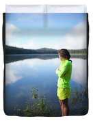 A Young Woman Looks Out Over Unna Lake Duvet Cover