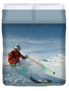 A Young Woman Skis The Backcountry Duvet Cover