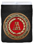 Aa Initials - Gold Antique Monogram On Black Leather Duvet Cover