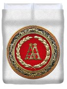 Aa Initials - Gold Antique Monogram On White Leather Duvet Cover
