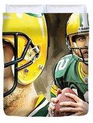 Aaron Rodgers Green Bay Packers Quarterback Artwork Duvet Cover