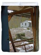 Abandoned Cabin Elkmont Smoky Mountains - Screened Door Old House Duvet Cover