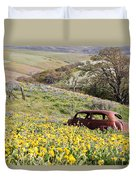 Abandoned Ford Buried In Wildflowers Duvet Cover