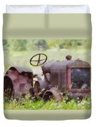 Abandoned Tractor On The Farm Duvet Cover