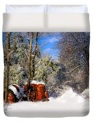 Abandoned Winter Tractor Duvet Cover
