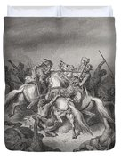 Abishai Saves The Life Of David Duvet Cover by Gustave Dore