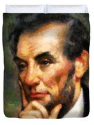 Abraham Lincoln - Abstract Realism Duvet Cover