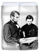 Abraham Lincoln And Tad Duvet Cover by Anonymous