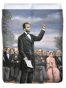 Abraham Lincoln Delivering The Gettysburg Address Duvet Cover by American School