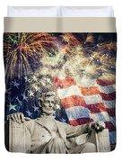 Abraham Lincoln Fireworks Duvet Cover