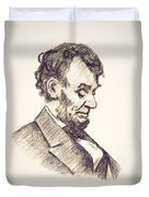 Abraham Lincoln Head Bowed  Drawing 1910 Duvet Cover