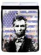 Abraham Lincoln Pop Art Splats Duvet Cover by Bekim Art