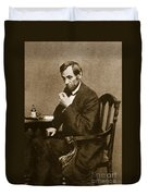Abraham Lincoln Sitting At Desk Duvet Cover by Mathew Brady